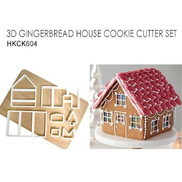 Taiwan 3d gingerbread house cookie cutter set for Cookie cutter house plans