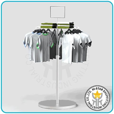 Taiwan Clothing hanging round panel rack metal white base