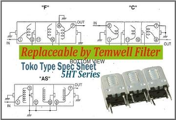 Helical Bandpass Filter - Alternative Toko type 5HT Filter