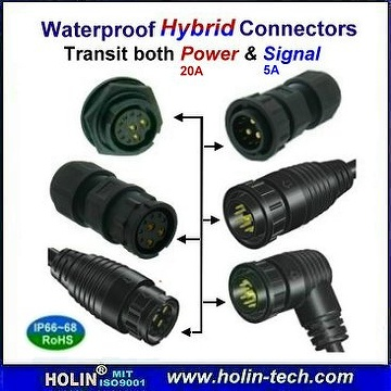 Hybrid Combination Connector Kit, with Panel Rear Mount & Field Installable Lock Type for both Signal & Power Contact