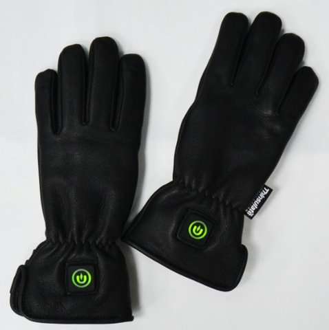 Heated Gloves, 3.7V Electronic Heated Leather Gloves with 5 Finger Heaters