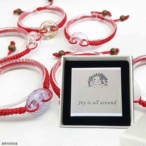 香氛手鍊 - 幸運紅繩琉璃甜甜圈香氛手鍊-編織手鍊-可調節手圍-Gift Box