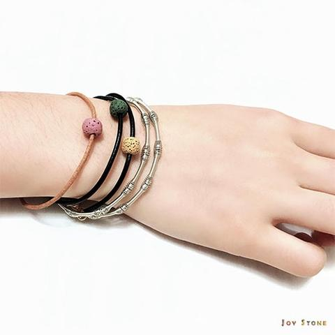 Lava Bead Diffuser Black Leather Bracelets