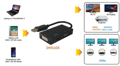 DisplayPort to HDMI/DVI/VGA Splitter/Adapter (DHS103)