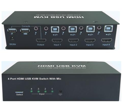 4 Port HDMI USB KVM Switch w/ Mic.