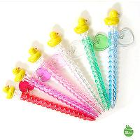 Yellow Duck Character Mechanical Ballpoint Pens with Love Heart Charm - Random Color Delivery Lot of 3
