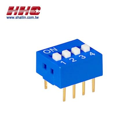 2.54mm DIP switch, SPST 4 positions, gold-pin