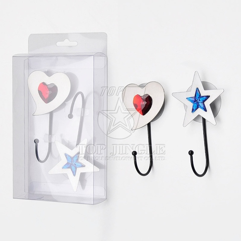 2pcs/set Heart & Star Shape Stainless Sand Finish Single Hook With Removable Sticker