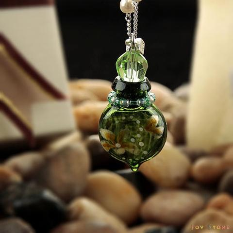 Diffuser Necklace Colored with Flower Yellow-Green Vial