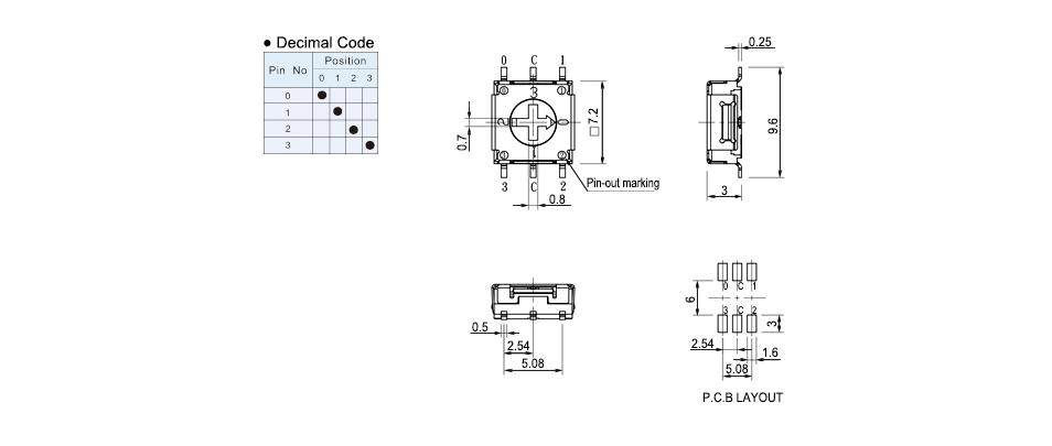 taiwan rotary dip switch 4pos  7 2x7 2mm 5v 100ma  rohs directive