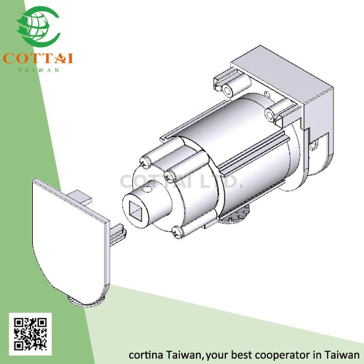 Cottai Headrail With Hook Tape Aluminium White For Roman