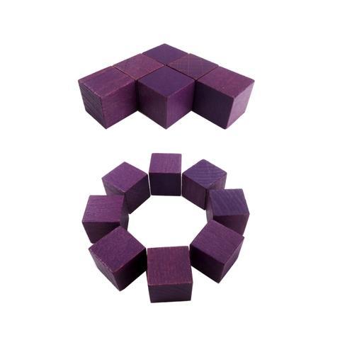 2cm Purple Wood Cube