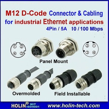 Taiwan M12 D Coded Industrial Ethernet Connector And Cable
