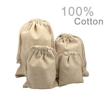 Linen Jute Vintage cotton Wedding Drawstring Gift Favor Sack Bags lot 100pcs