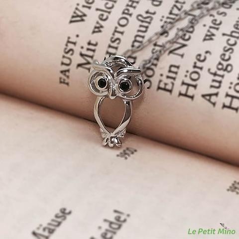 Bitterly Merry Owl Zircon Pendant Silver Necklace