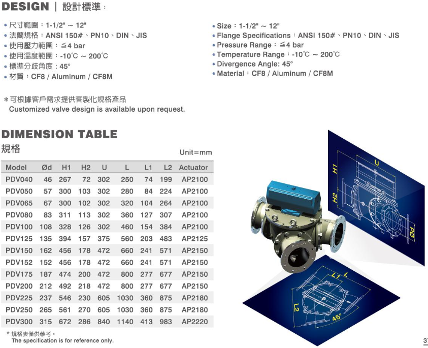 Taiwan PDV Powder & Pellet Diverter Valve