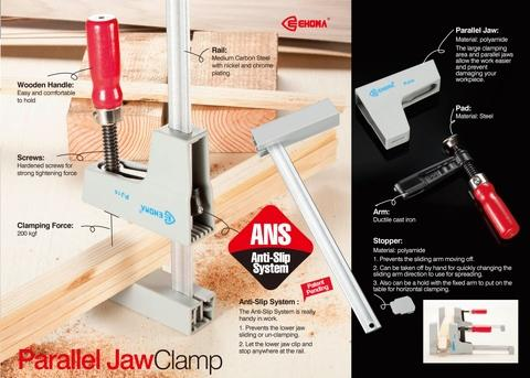 Parallel Jaw Clamp -Wood Handle (Anti-Slip System)