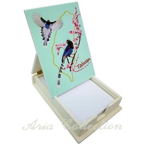掀蓋式便條紙盒/收納盒-藍鵲梅花