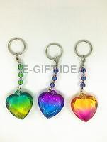 Glossy Rainbow Two-color Beads Key Chain (with a heart)