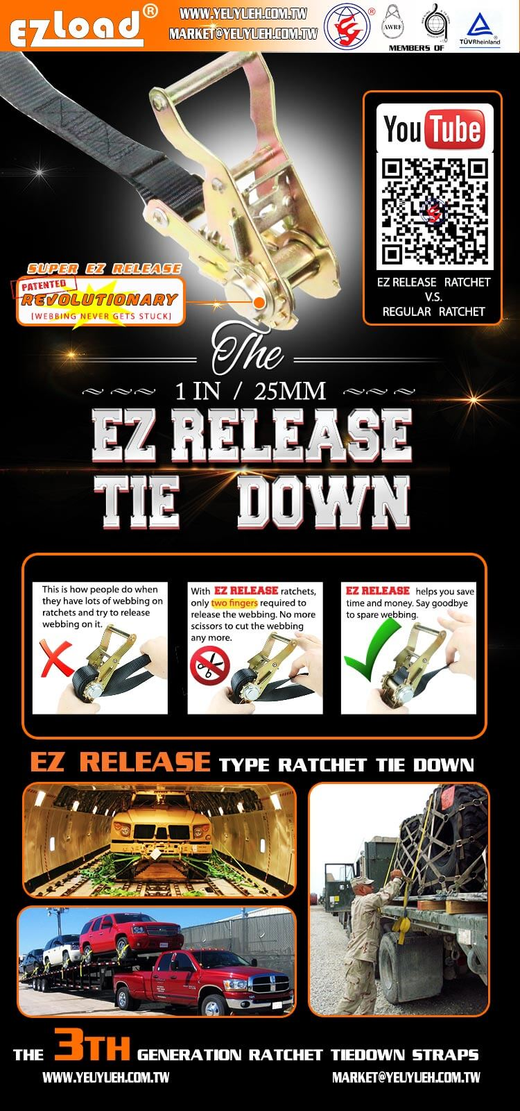 [EZ LOAD] 25mm Best Ratchet Buckle with Security Webbing for Truck