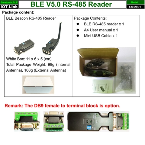 Bluetooth BLE V5.0 Beacon RS485 Reader package content