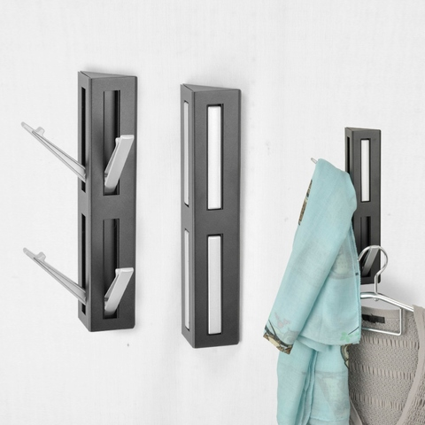 Black Wall Mounted Triangle Shape Foldable  4 Hooks