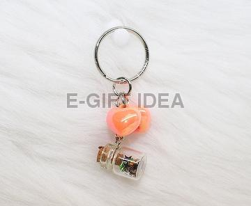 Star Sequin Bottle Key Chain(with 2 fluorescent hearts)
