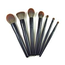 7pcs synthetic wooden handle cosmetic makeup brush set