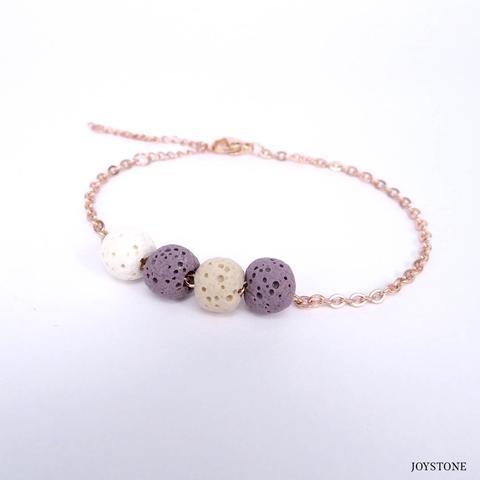 Quadruple-Bead 3 Color Purple Aroma Rock Diffuser Bracelet