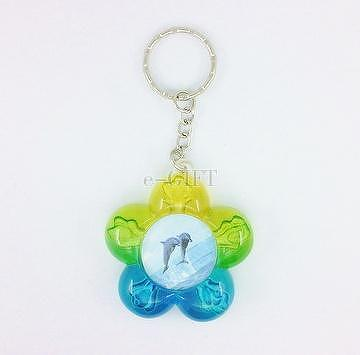 Colorful Flower Dolphin Photo Frame Key Chain