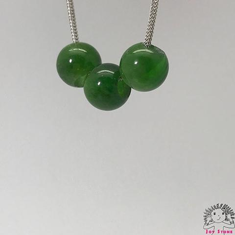 925 Silver Diopside 9.8mm Beads Pendant Necklace