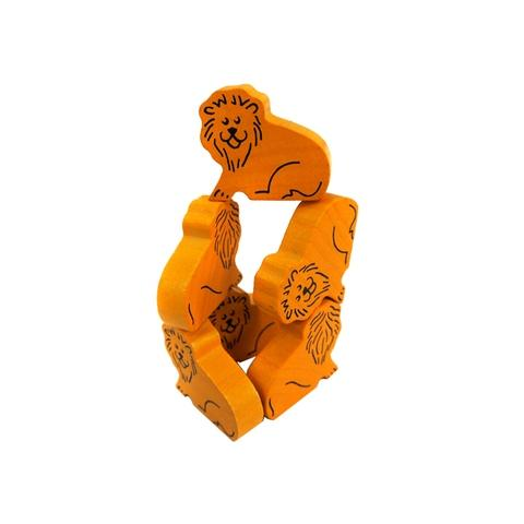 Printed Wooden Lion Family