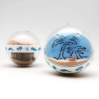 Canplow Sandglobe Paperweight 3- inch Round, Flip Over to see Sand Patterns Dolphin and Palm Tree, Beach sand inside