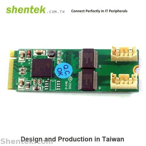 Shentek 2 Port RS232 Serial Mini PCIe Base M.2 Card