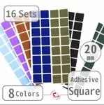 "20mm(3/4"") Self-Adhesive Square (16 Sets)"