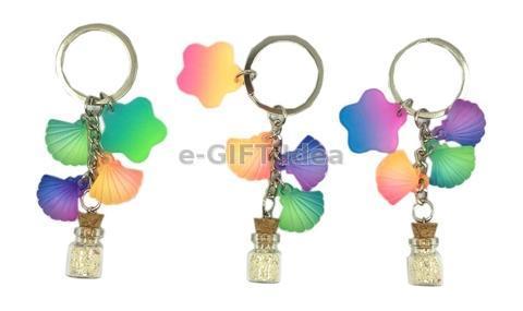 Mini Sand Bottle Key Chain (with shells)