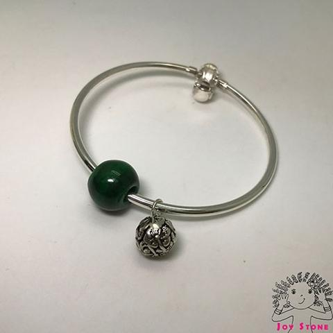 Silver Burma Jade 13.8mm Bead and Silver Charm Bracelet