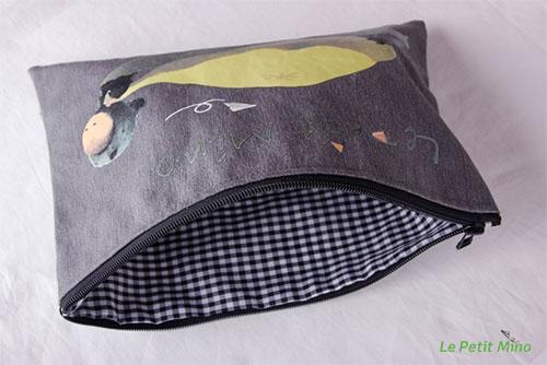 Canvas Gray Handmade Zipper Bag Mino Pull A Bag