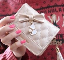 GVF Woman purse cat pearl pendant handbags Short wallet clutch