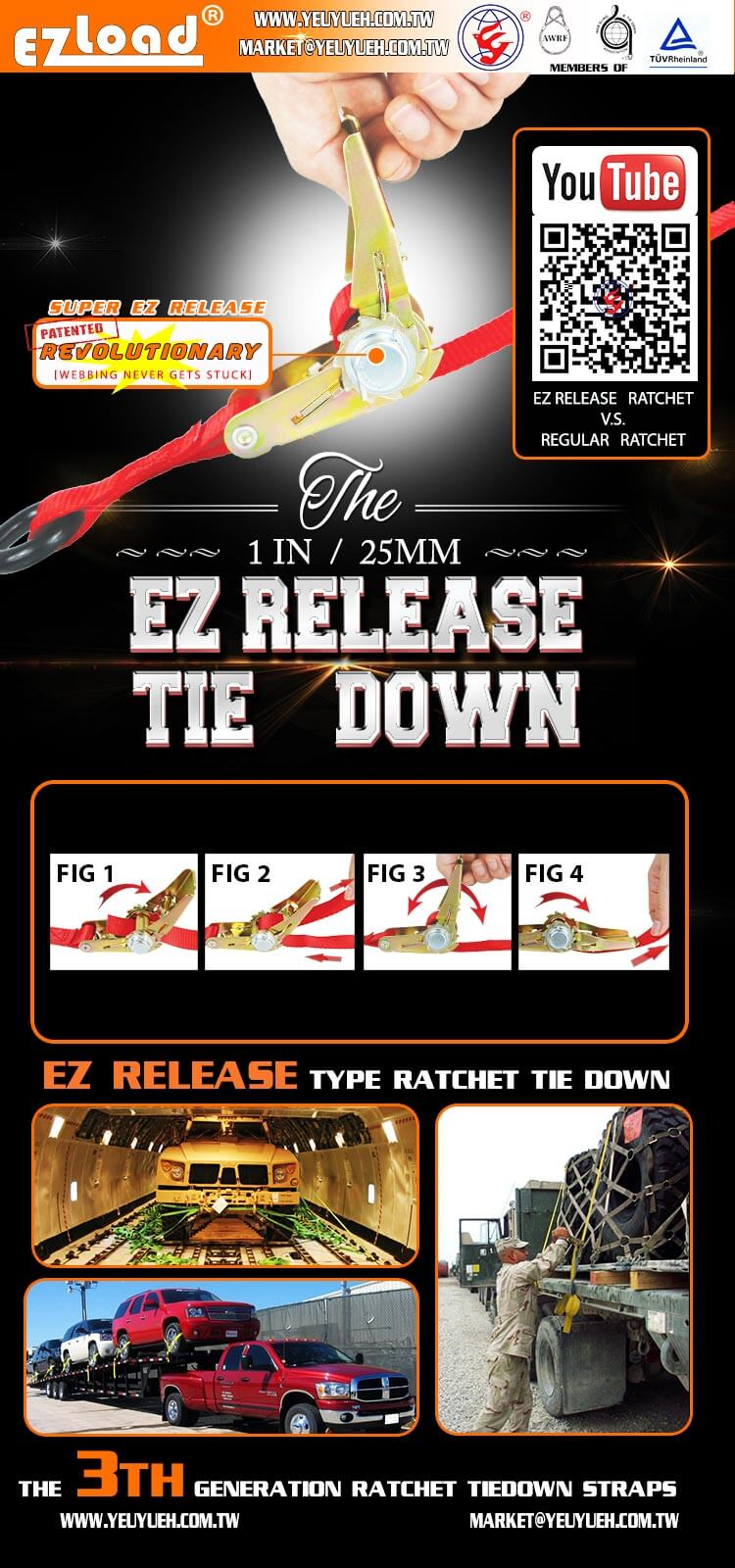 [EZ LOAD] Easy Release 1 Inch 25mm Canopy Binding Tie Down Straps