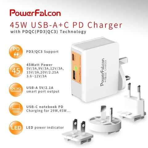 PowerFalcon 45W 20V interchangable charger/ dual ports (USB-C USB-A)
