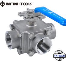 4-Piece 3 Way TL-Port Screwed End Ball Valve