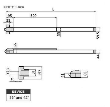 ANSI UL Fire Rated Vertical Rod Panic Bar