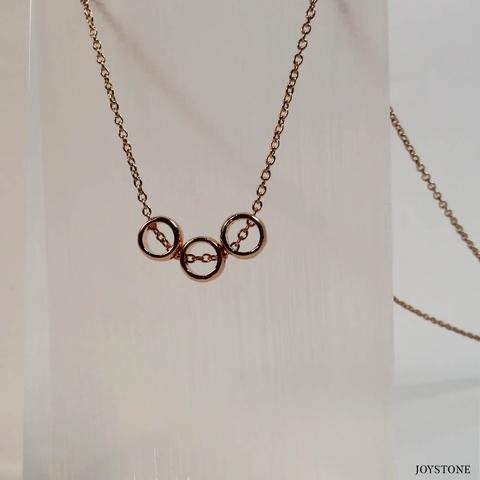 Silver Rose Gold 3 Circle Necklace Titanium Steel Chain