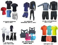 All-Purpose Performance Sportswear: Shirts, tights, shorts, pants, capris, leggings, jerseys, bibs, bras, tops, bottoms.