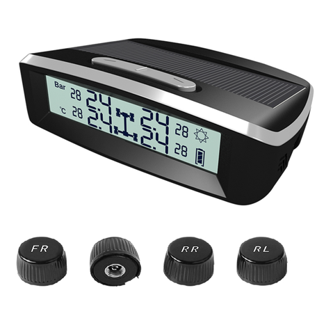 TPMS, Auto LCD Dual Power Tire Pressure LCD Monitor System BAR PSI Solar Wireless external tpms