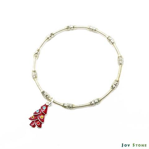 Xmas Tree Silver Beads Bracelet Xmas Party Queen