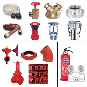 Fire Protection Valves, Grooved Valves, Pipes, Fittings, Fire Hose, Brass Hydrant Valves, Angle Valves, Nozzles, Sprinklers, Camlock Couplings, Storz Couplings, Emergency Lights, Extinguishers