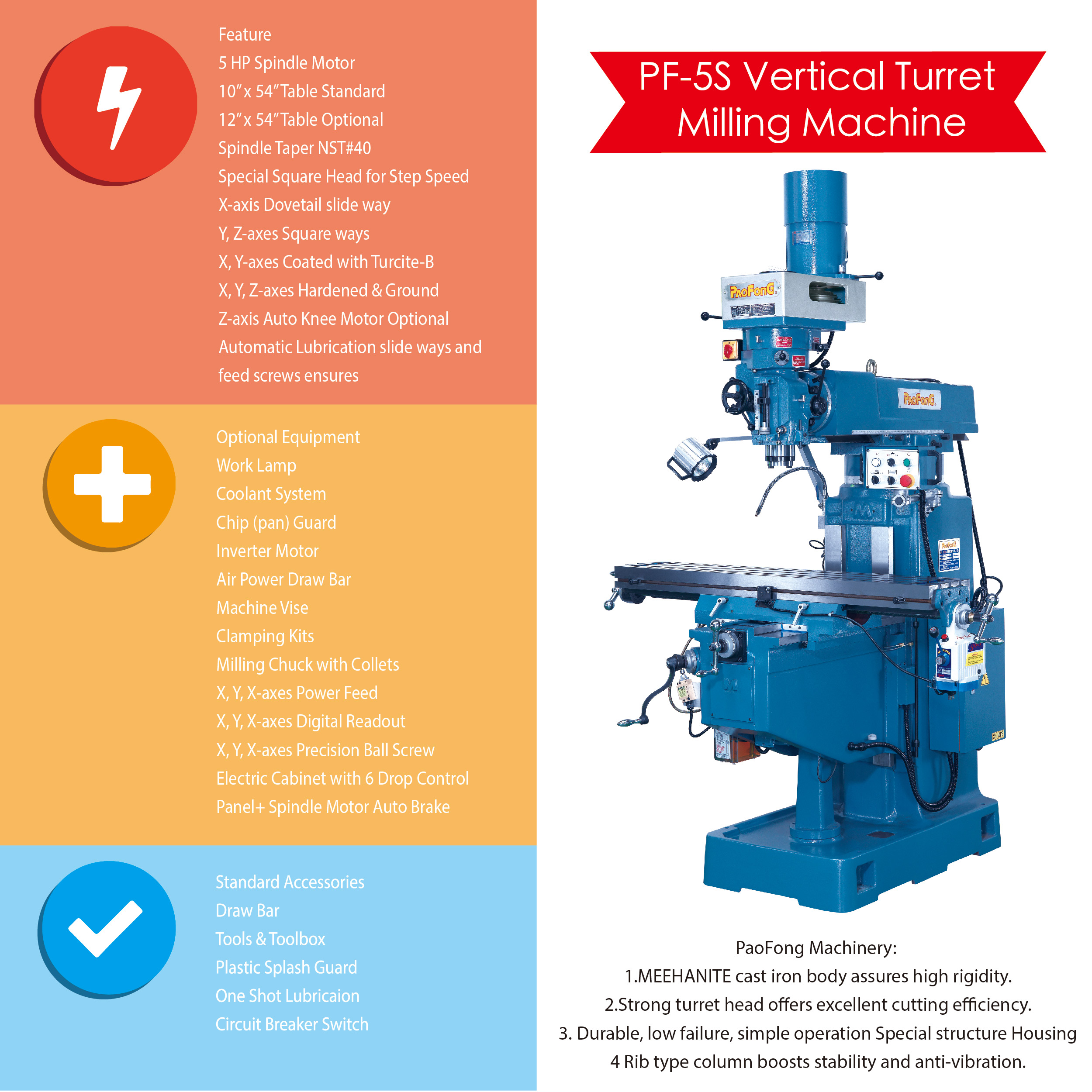 Taiwan VERTICAL MILLING MACHINE | PAO FONG INDUSTRY CO , LTD