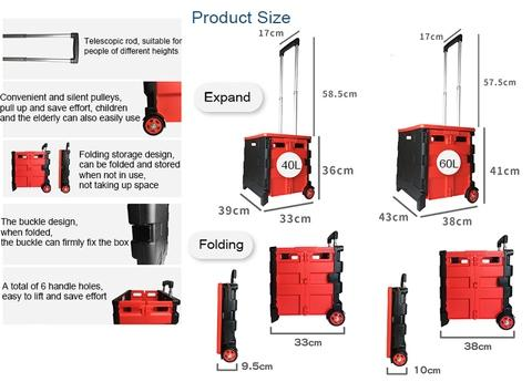Foldable two-wheel storage shopping cart-40L